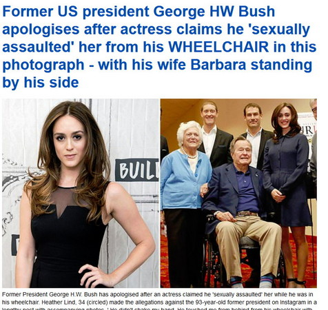 Wheelchair also stretch groping touch actress ass! Former President George Bush to apologize